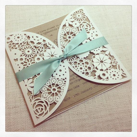Mint Green Lace Silver Pocket Wedding Invitations Ewpi034 2195630 Weddbook