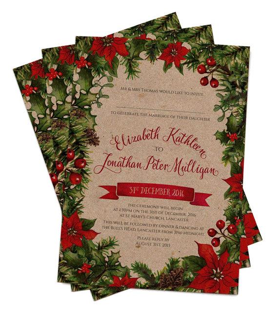 Vintage Winter Fl Wreath In Navy White Wedding Invitations