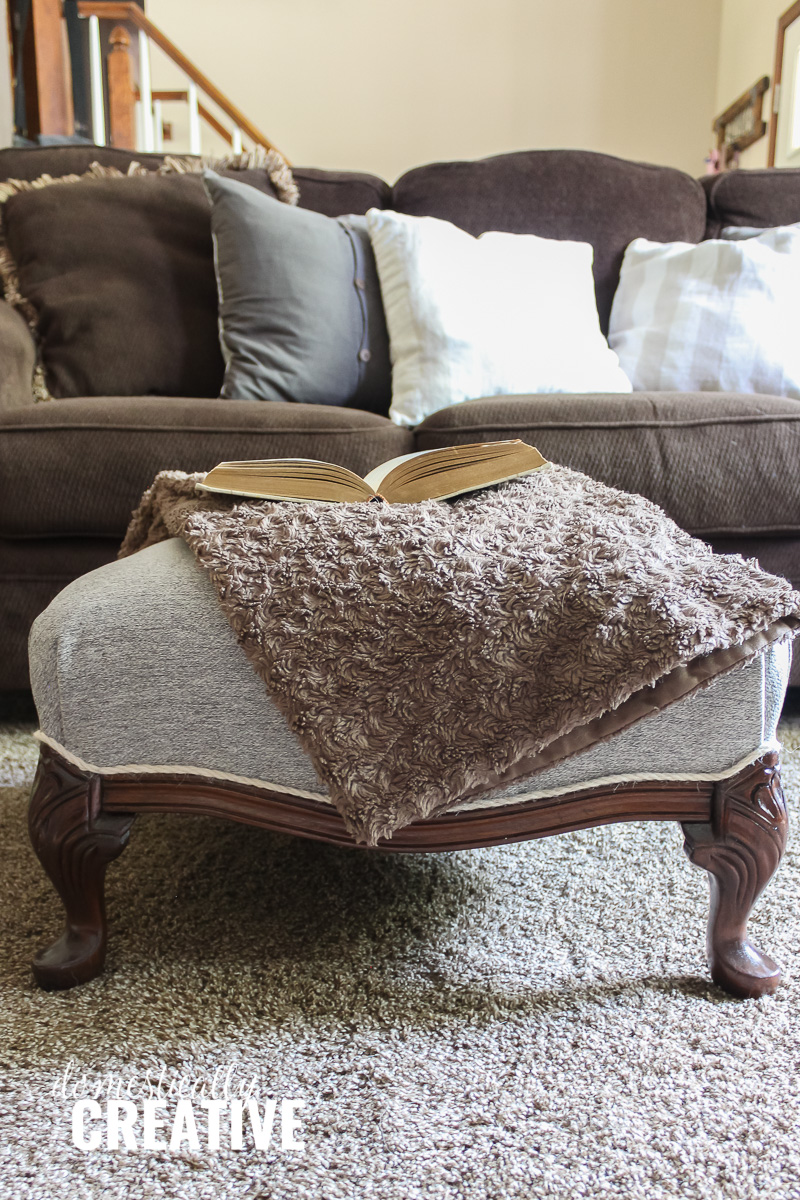 Reupholster Egg Chair How To Refinish And Reupholster A Footstool Domestically Creative