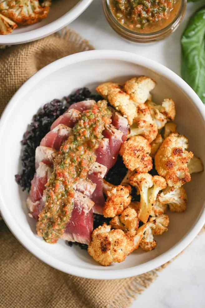 seared-ahi-bowls-with-roasted-cauliflower-and-red-chimichurri-3