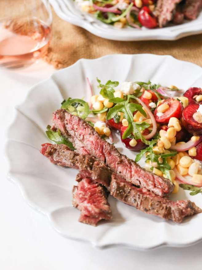 Marinated-Skirt-Steak-with-Corn-and-Sweet-Cherry-Salad-4