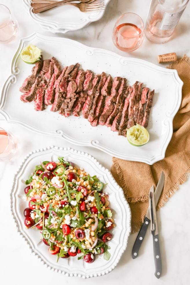 Marinated-Skirt-Steak-with-Corn-and-Sweet-Cherry-Salad-9