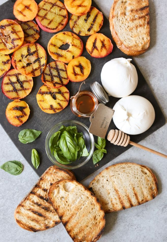 Grilled-Peach-Toast-with-Burrata-Basil-Honey-step-3