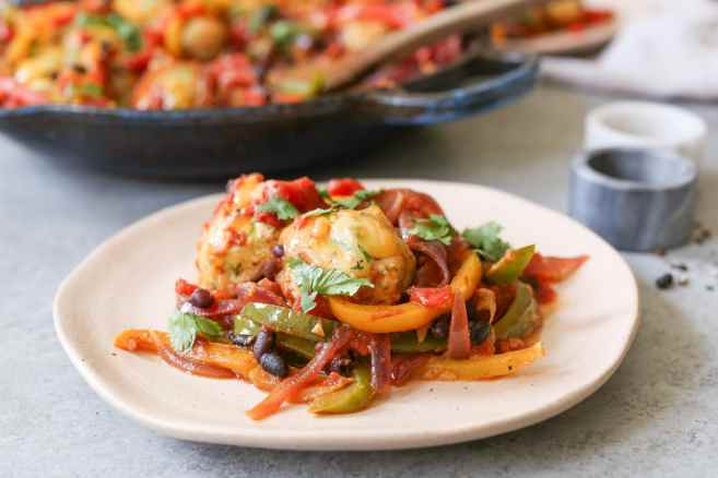 Gluten-Free-Chicken-Meatball-Fajita-Skillet-6