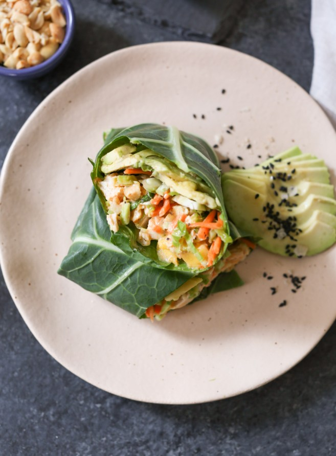 sriracha-chicken-salad-collard-wraps-with-mango-avocado-and-slaw-5
