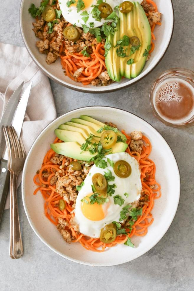 Spicy Chicken and Sweet Potato Noodle Bowls- Domesticate ME!