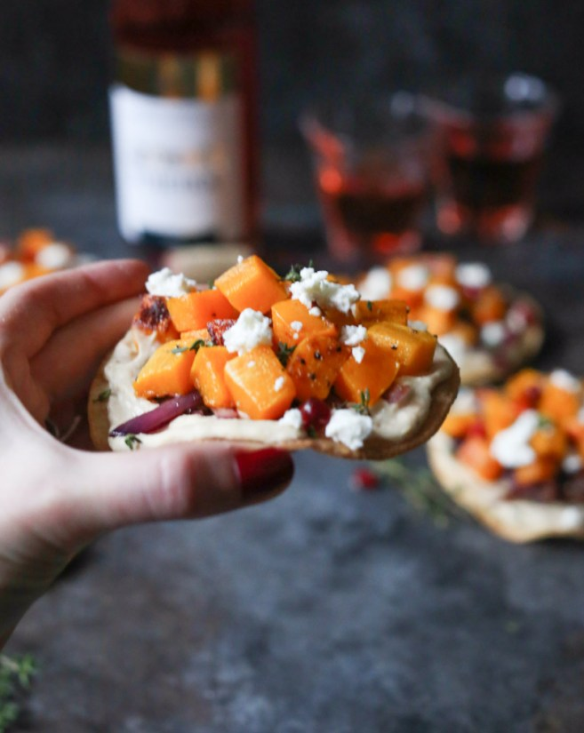 Roasted Butternut Squash Tostadas with Hummus, Caramelized Onions and ...