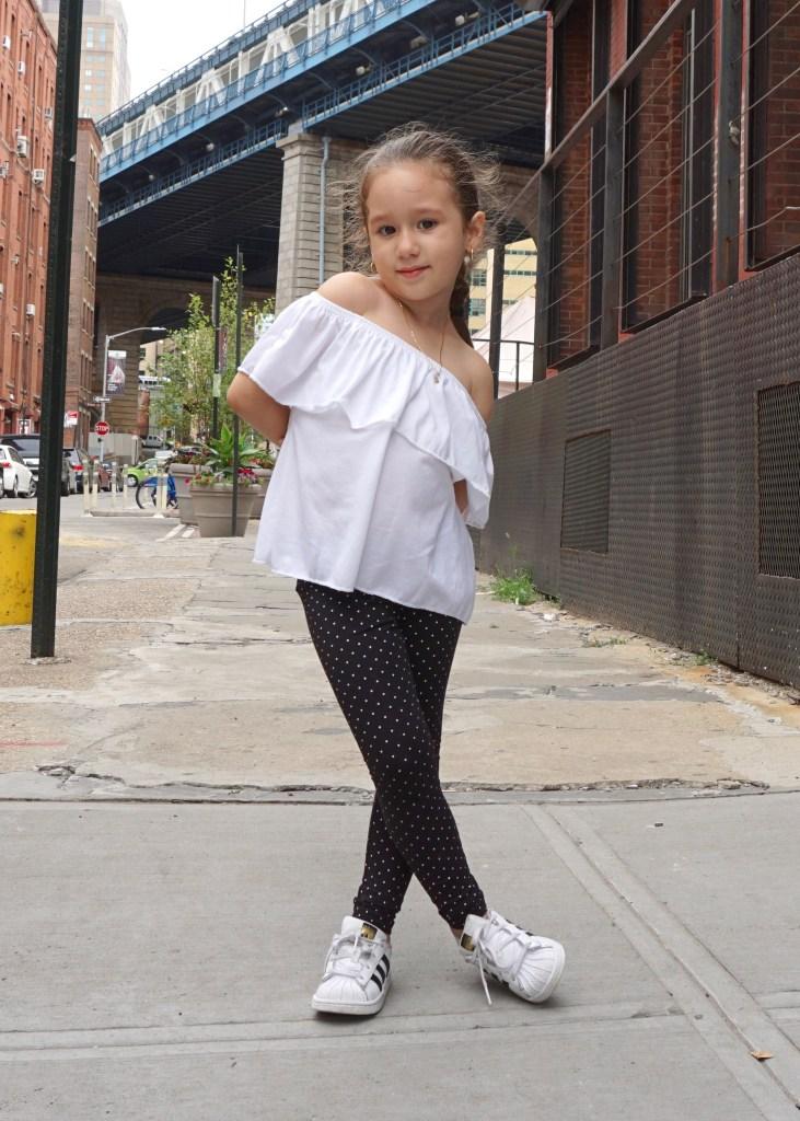 Zara Off the Shoulder Kids Black and White OOTD Look