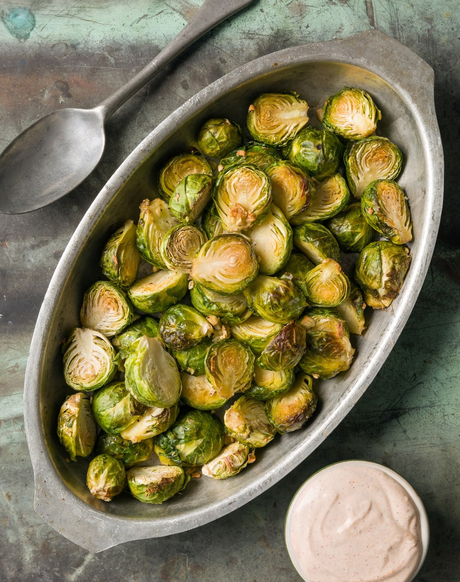 Brussels Sprouts with a Creamy Sriracha Dipping Sauce