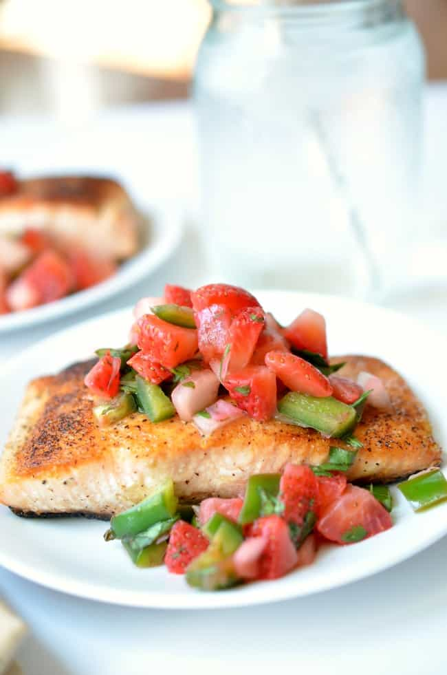 Pan Seared Salmon with Strawberry Salsa