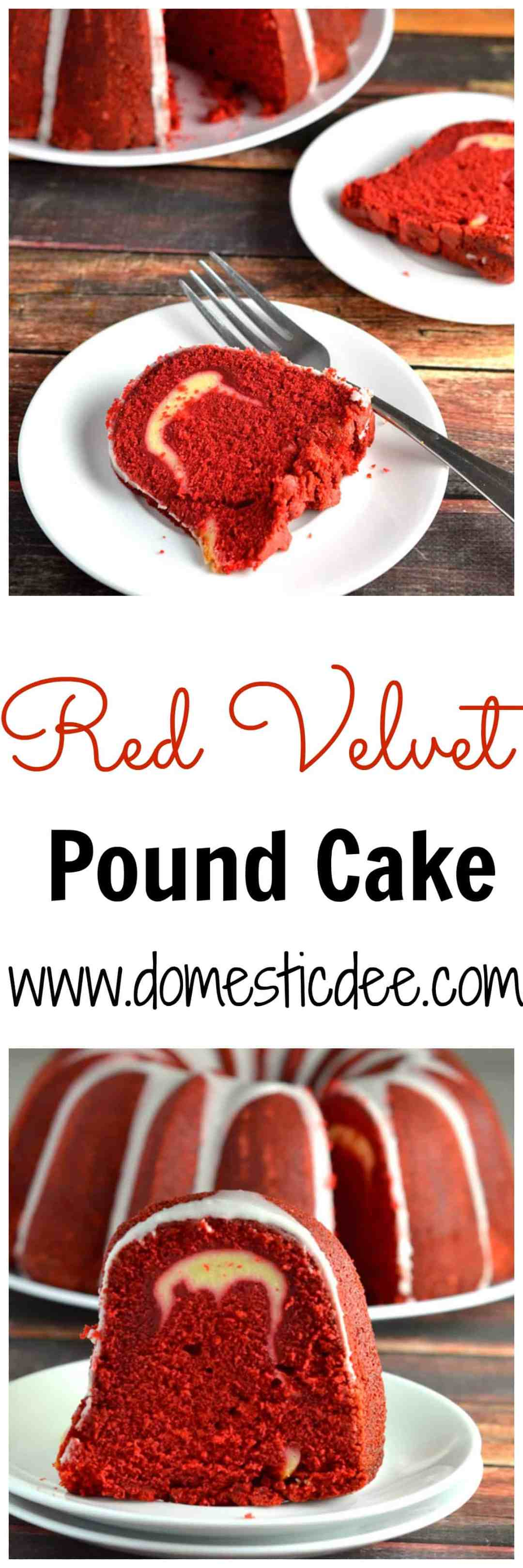 Red Velvet Pound Cake- This Red Velvet Pound cake is moist, flavorful, and delicious. Each bite taken will force your taste buds to go wild! www.domesticdee.com