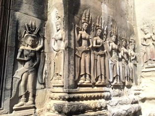 Carvings of Apsara- female spirits of the air and waters