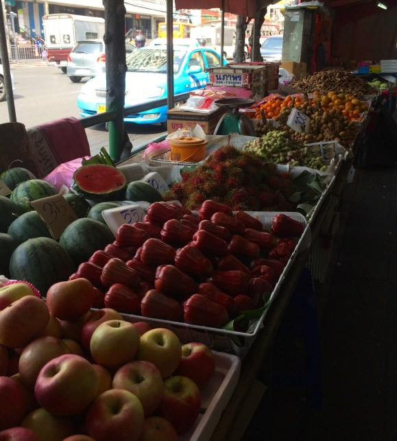 A street-side fruit stand