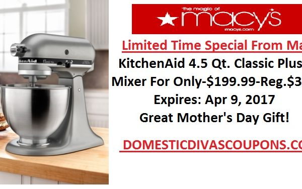kitchen aid coupons spice racks retail promo codes archives domestic divas get a kitchenaid stand mixer for 1 99 reg price 349