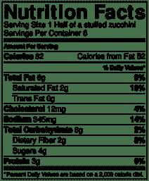 stuffed zucchini nutrition info