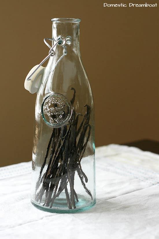 Vanilla beans in bottle