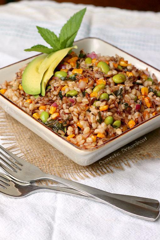Whole Grain Salad with Roasted Corn and Edamame