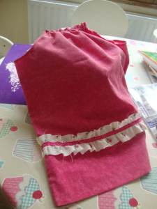 finished pillowcase dress with ruffle trim