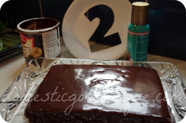 spray painted chocolate cake