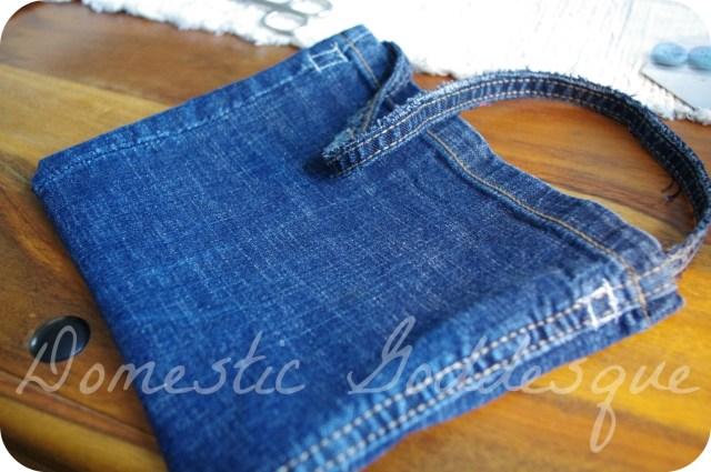 jeans upcycled to handbag