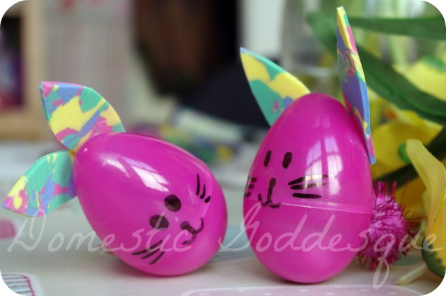 rabbits from plastic eggs