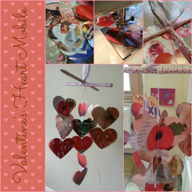 Valentine 3-D heart mobile from recycled magazine