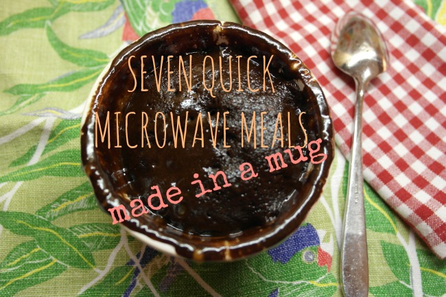 seven quick microwave meals made in a mug