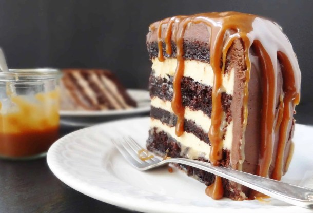 salted caramel chocolate fudge cake with swiss meringue buttercream