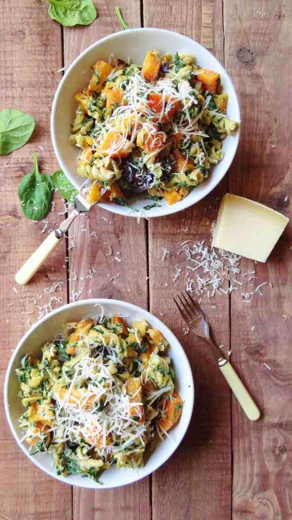 spinach, ricotta & butternut squash pasta