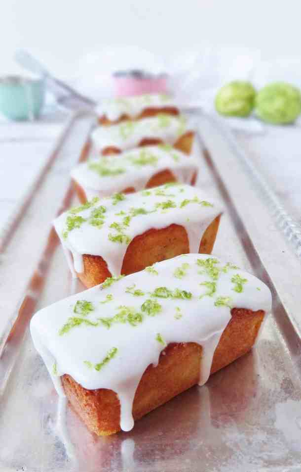 mini lime, yoghurt almond loaf cakes