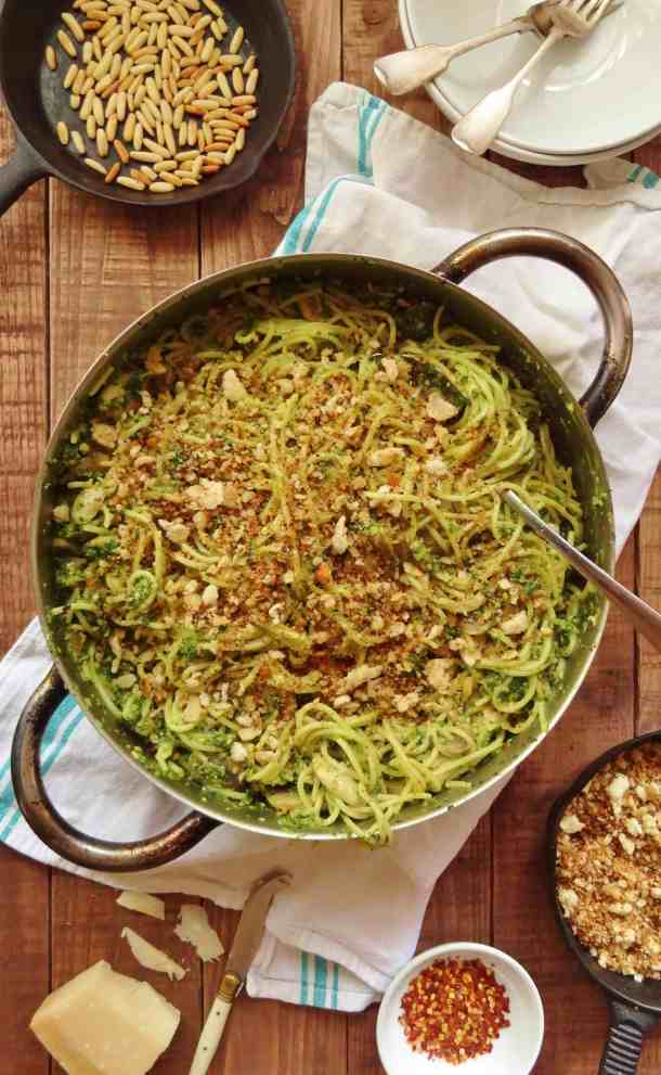spaghetti with kale pesto, mushrooms and pangrattato