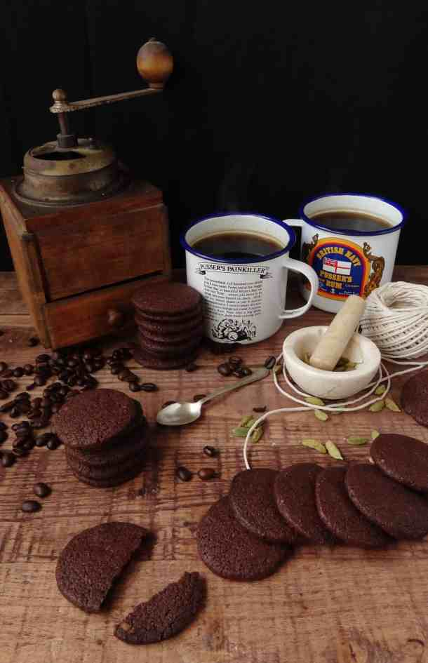 Chocolate cardamom coffee biscuits (cookies) - Domestic Gothess
