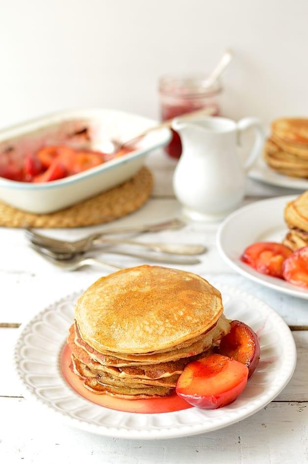 Honey cinnamon cornmeal pancakes, honey lemon & cinnamon syrup & roasted plums - Domestic Gothess