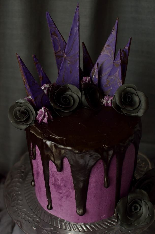 Chocolate and blackberry gothic Halloween cake with blackberry jam, blackberry swiss meringue buttercream and blackberry ganache