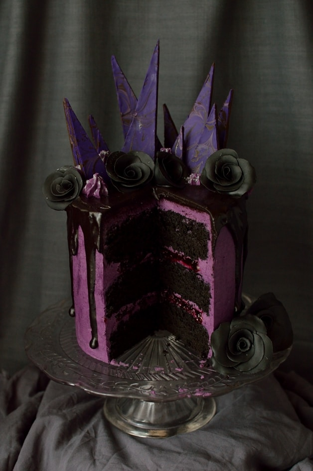 Chocolate blackberry cake - three layers of moist chocolate cake with blackberry jam, blackberry swiss meringue buttercream & blackberry ganache