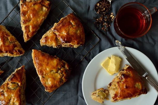 Apple, fig, pecan and honey scones