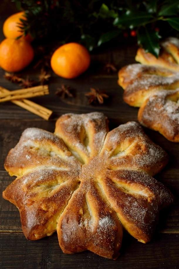 Orange and star anise Christmas snowflake bread, based on Gibassier - Domestic Gothess