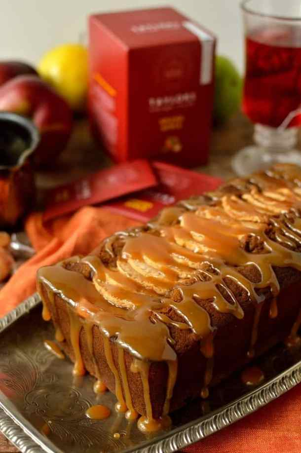 Toffee apple gingerbread loaf cake, perfect for bonfire night - Domestic Gothess
