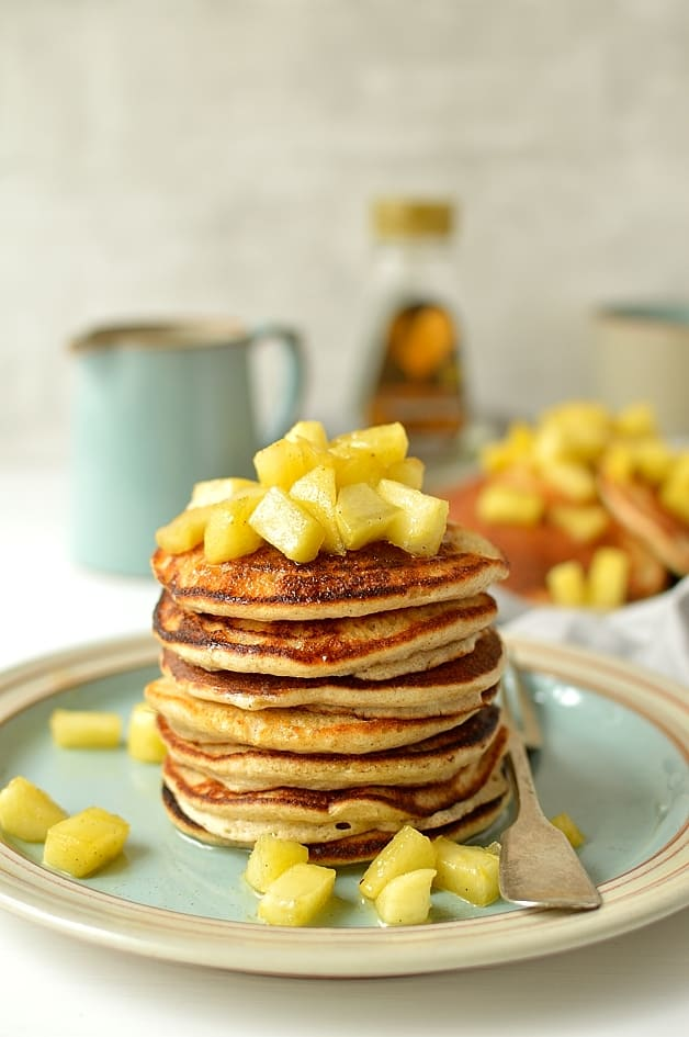 Refined sugar free oat and spelt pancakes with cinnamon apples - healthy, filling and delicious