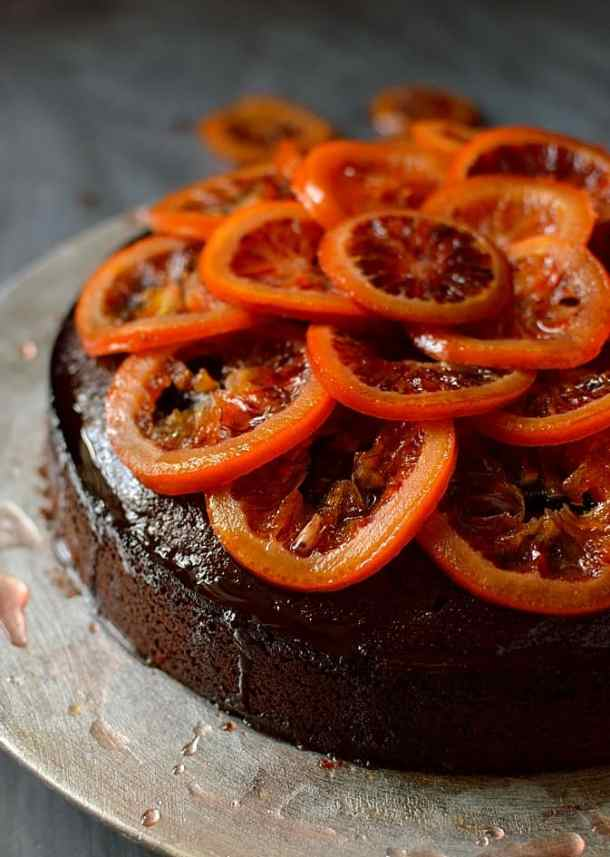 Chocolate, rosemary and olive oil cake with candied blood oranges; moist, aromatic and delicious
