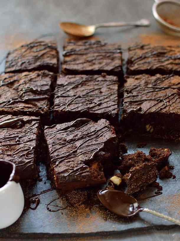 Healthier brownies made with coconut flour & oil, cacao powder & sweetened with honey - gluten, grain, dairy & refined sugar free
