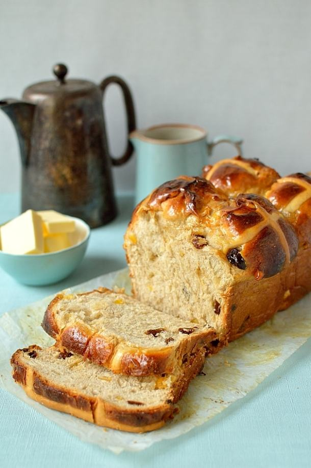 Hokkaido milk bread hot cross bun loaf - Domestic Gothess