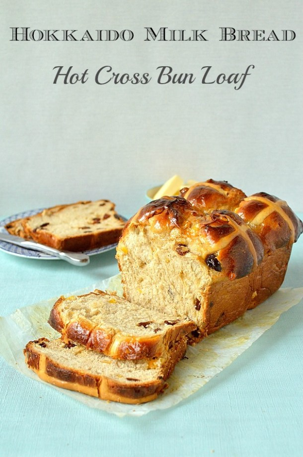 Hokkaido milk bread hot cross bun loaf (tangzhong method), the perfect treat for Easter