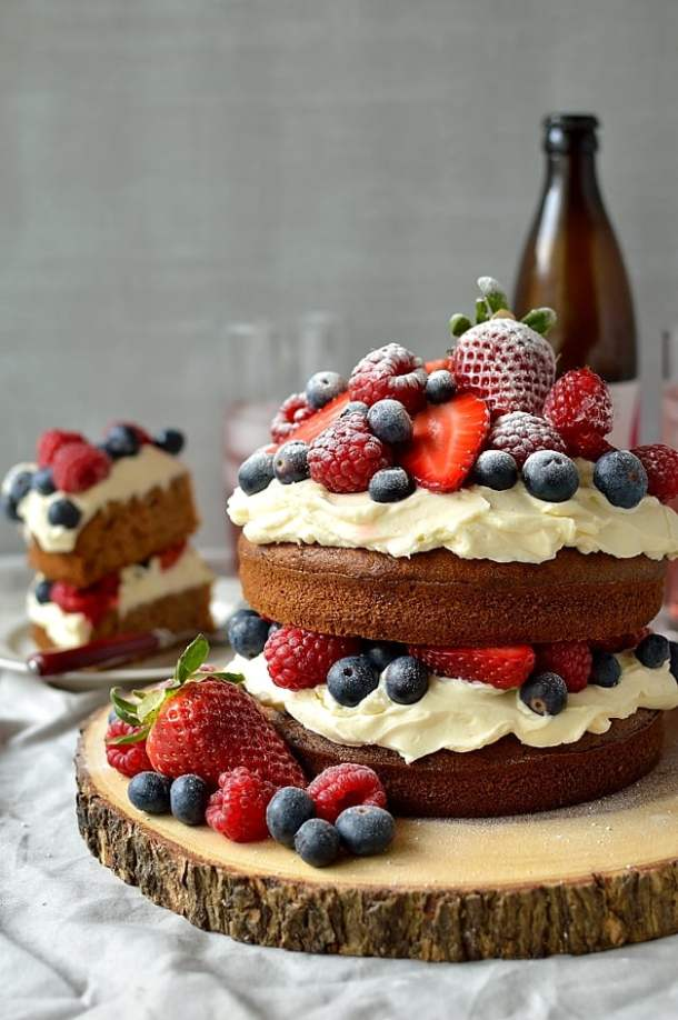 Mixed berry, cider and cinnamon cake with vanilla mascarpone frosting