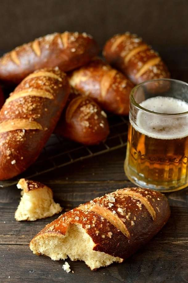 Beer pretzel hot dog buns