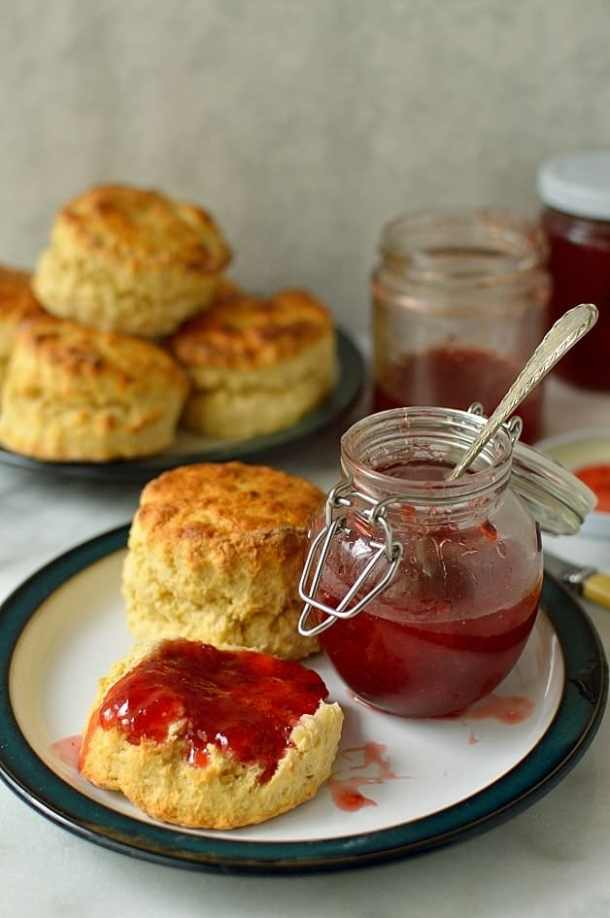 Fresh and zingy tasting strawberry lime jam and recipe for quick, easy basic scones