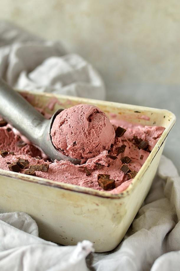 Balsamic roasted cherry and chocolate chunk ice cream (can use fresh or frozen cherries)