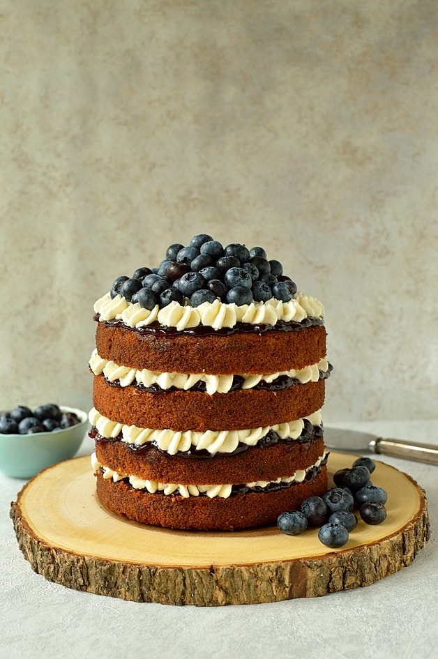 Blueberry banana buckwheat cake with vanilla mascarpone cream icing (GF)