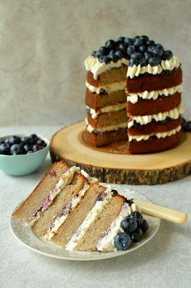 Gluten free blueberry banana buckwheat layer cake with vanilla mascarpone icing
