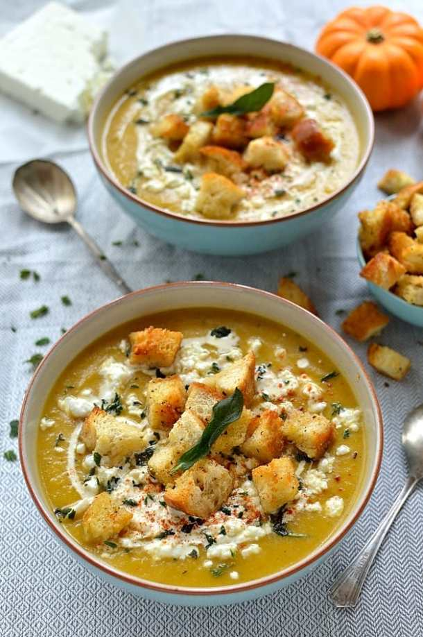 Easy spiced roast pumpkin soup with garlicky croutons, feta cheese and fried sage